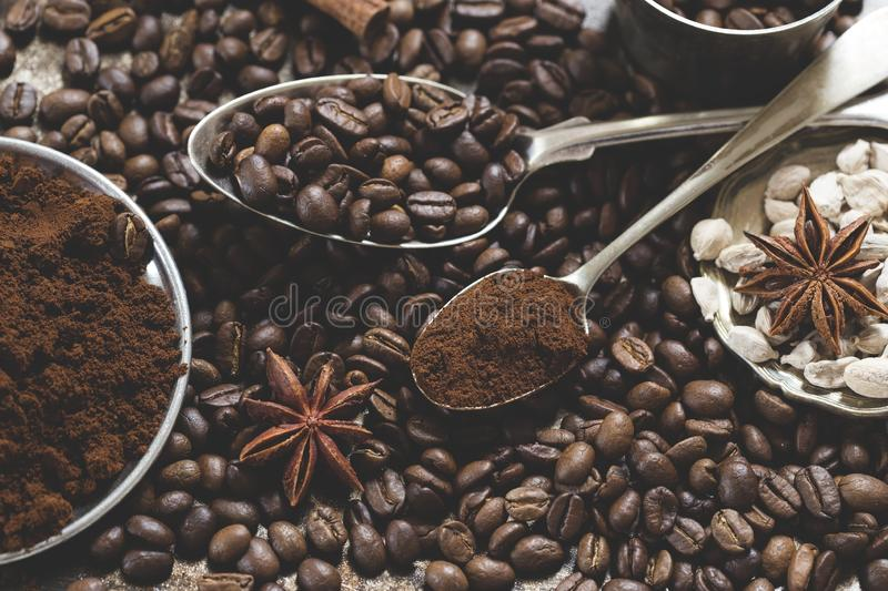 Coffee beans and spices stock images