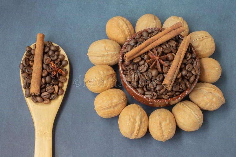 Coffee grains and walnut stock photo