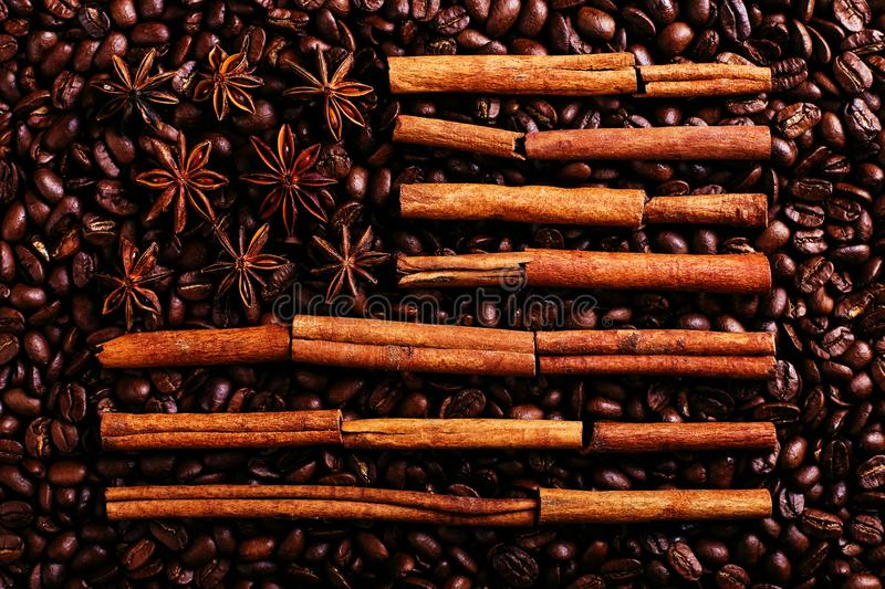 Coffee beans, star anise and cinnamon in the shape of the American flag. Fragrant spices for coffee drink, close-up, concept stock photography