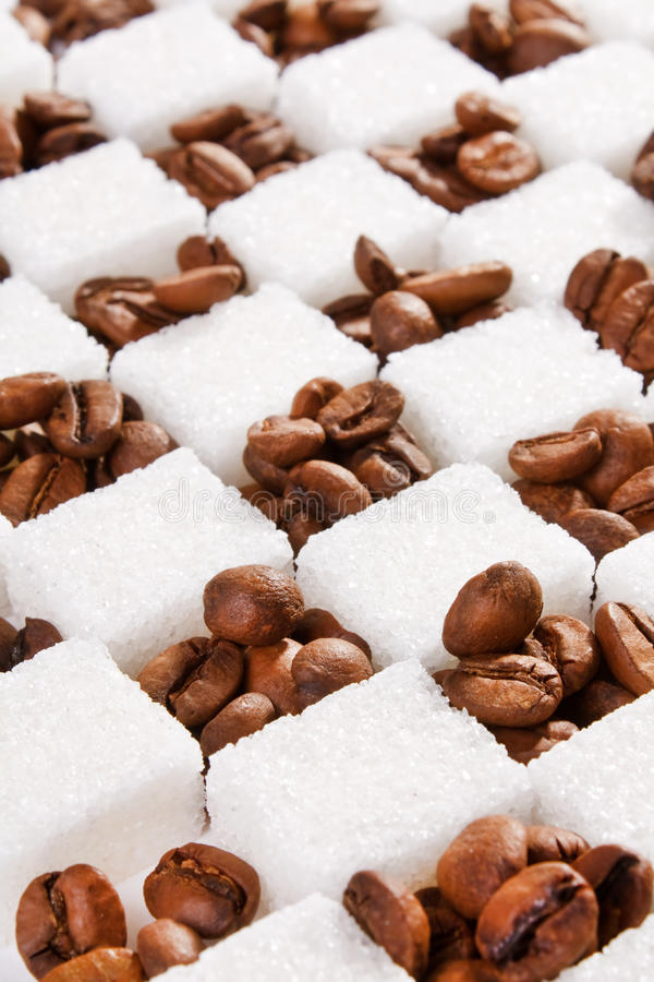 Coffee beans and sugar stock photo
