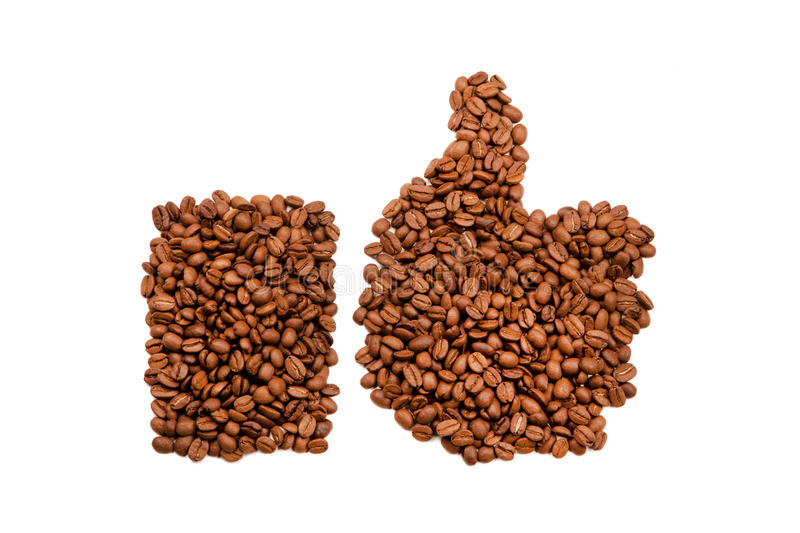 Coffee beans thumbs up stock photos