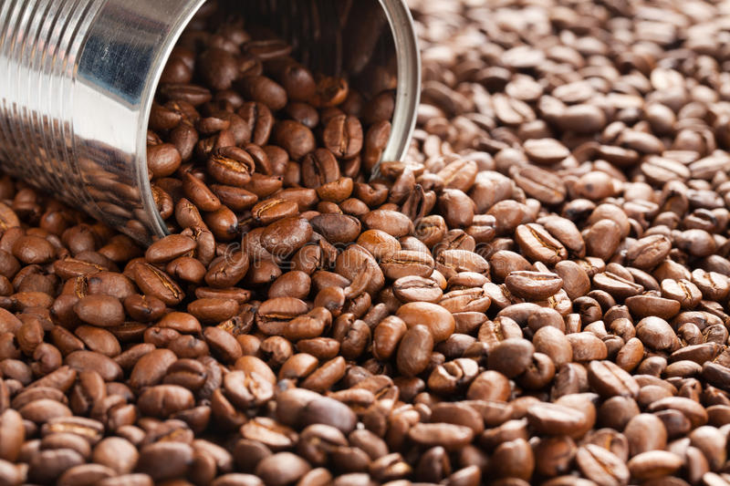 Coffee beans in tin can royalty free stock photos