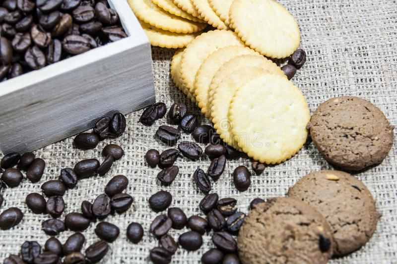 Coffee beans on toast royalty free stock images