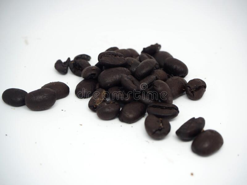 Coffee beans on white background stock photos