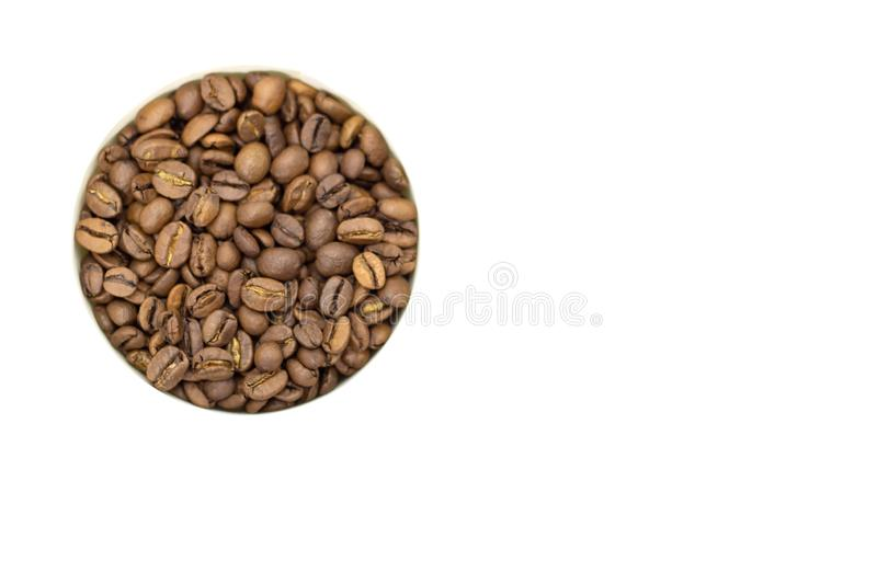 Coffee beans on a white background place for text background. Coffee beans on a white background place for text royalty free stock image