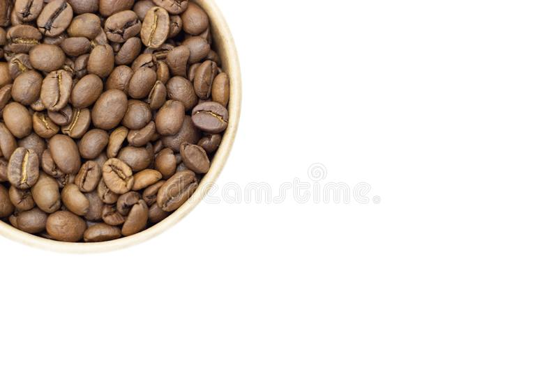 Coffee beans on a white background place for text background. Coffee beans on a white background place for text royalty free stock photos