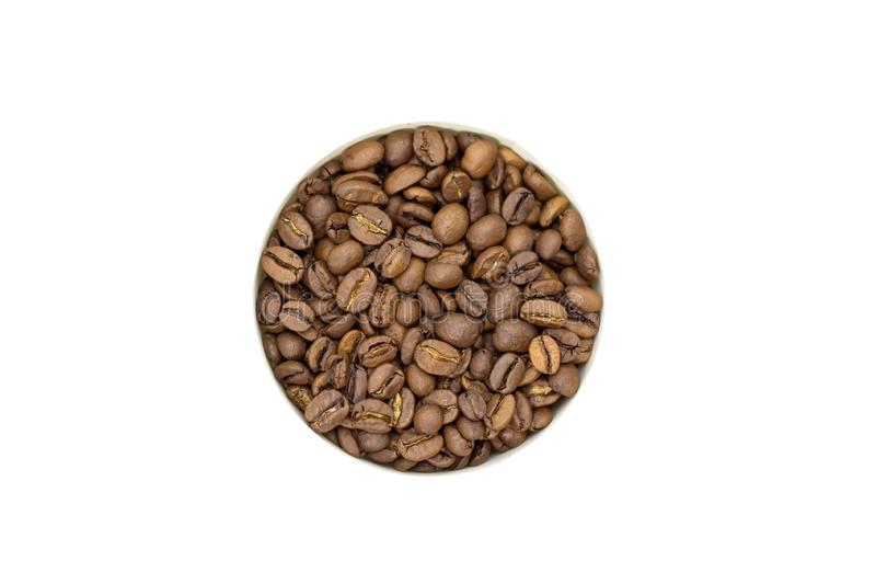 Coffee beans on a white background place for text background. Coffee beans on a white background place for text royalty free stock photography