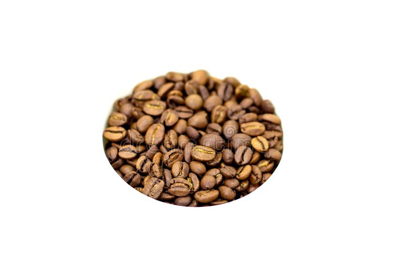 Coffee beans on a white background place for text background. Coffee beans on a white background place for text stock photo