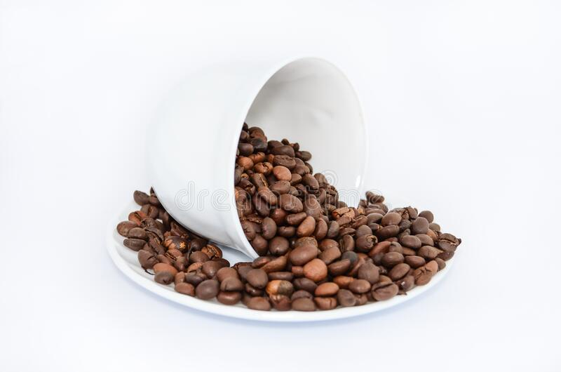 Coffee Beans On White Ceramic Saucer Free Public Domain Cc0 Image