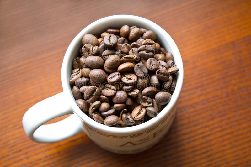 Coffee beans in white mug on wooden background stock photography