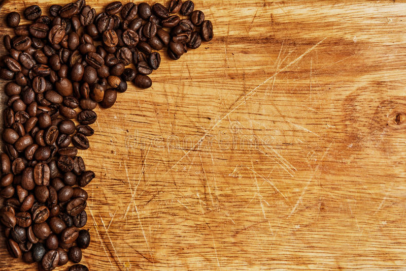 Download Coffee Beans On Wooden Background Stock Photo - Image of grinder, cafe: 39500202