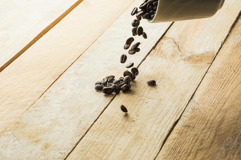 Coffee beans on wooden background. space for text. royalty free stock images