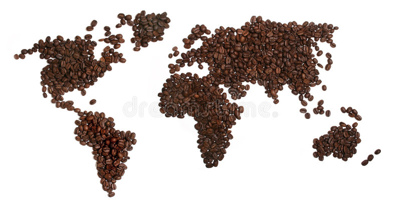 Coffee Beans World. Coffee beans in the shape of World on a white background