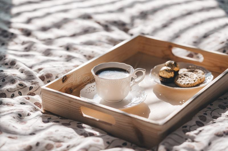 Coffee in bed stock images
