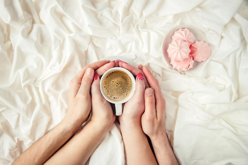 Coffee in bed. royalty free stock photo