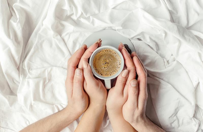 Coffee in bed. stock photos