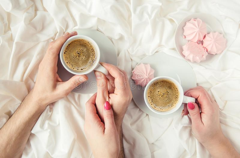 Coffee in bed. stock image