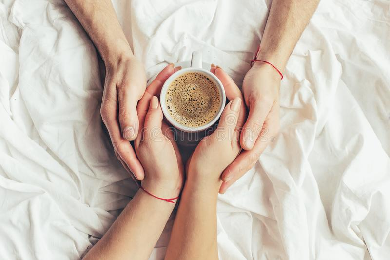 Coffee in bed. royalty free stock image