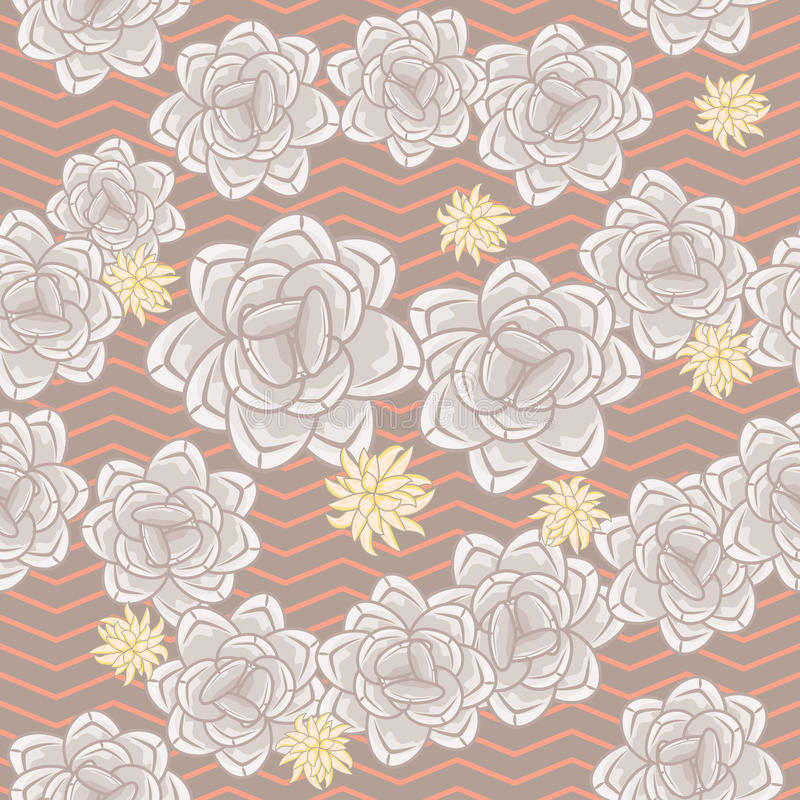 Coffee beige echeveria roses and chevron seamless pattern. stock illustration