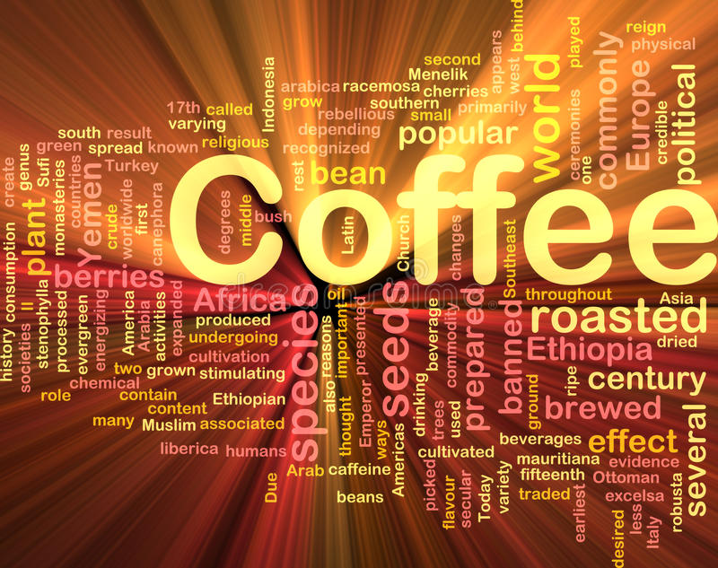Coffee beverage background concept glowing royalty free illustration