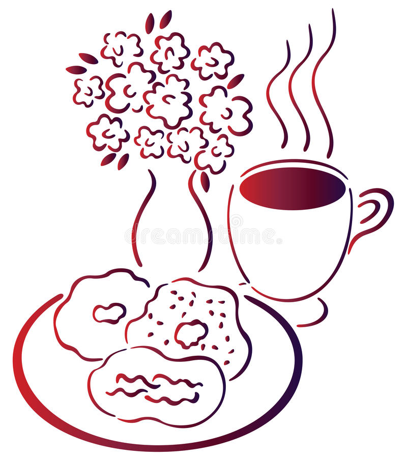 Download Coffee, biscuit and flower stock illustration. Illustration of candy - 12285889