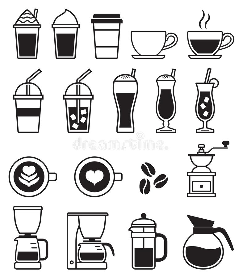 Coffee black icons. Vector vector illustration