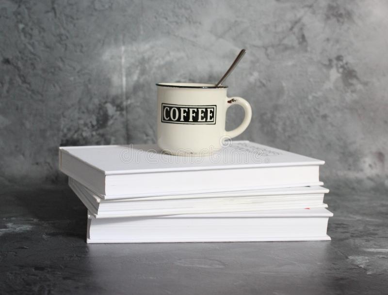 Coffee and books stock images
