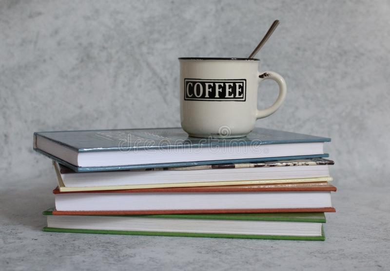 Coffee and books royalty free stock image