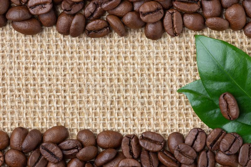 Coffee Border. Beans and leaf over burlap background. royalty free stock photo