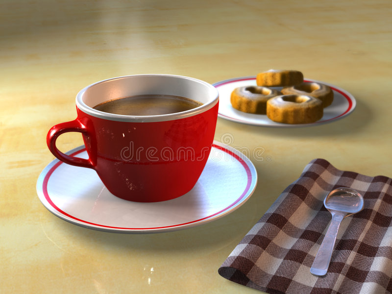 Coffee break. A cup of coffee and some biscuits on a table. CG illustration stock illustration