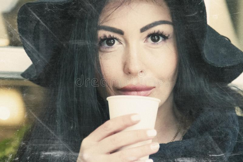 Coffee break, business woman with cup of coffee royalty free stock photos