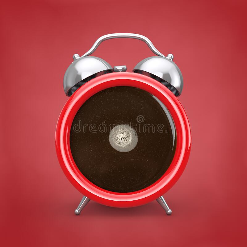 Coffee Break Concept. Coffe Cup as Alarm Clock. 3d Rendering royalty free illustration