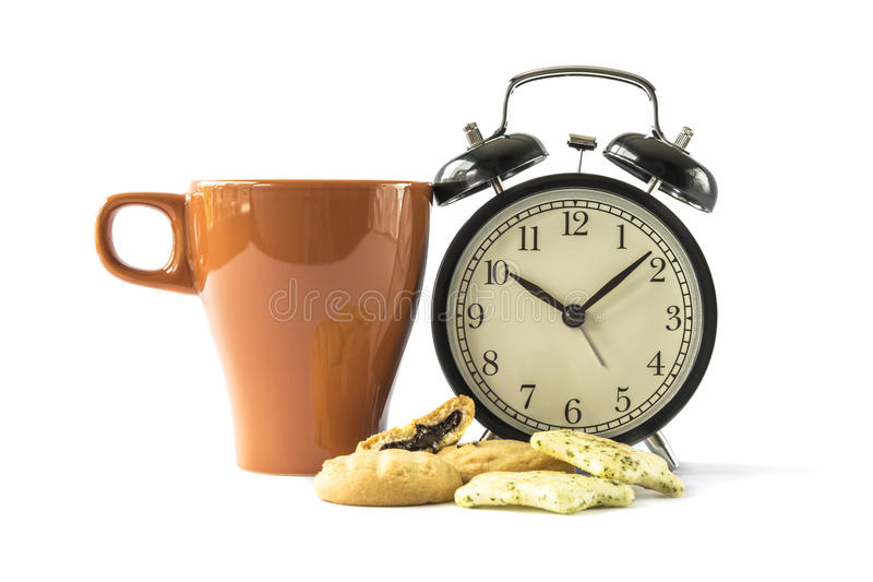 Coffee break. Coffee , cookies and alarm clock on white background : Concept for time to break stock image