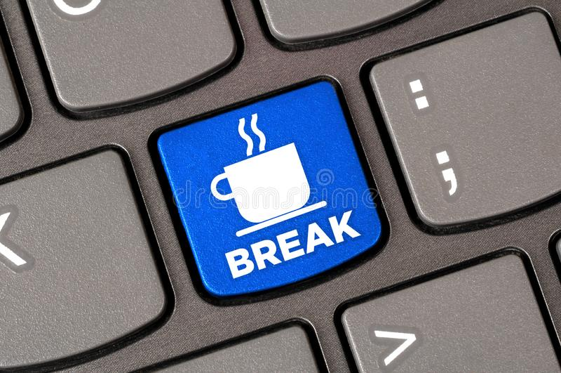 Coffee break keyboard royalty free stock photo
