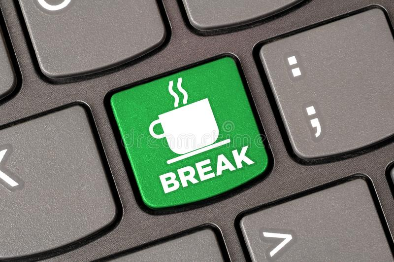 Coffee break keyboard royalty free stock photos