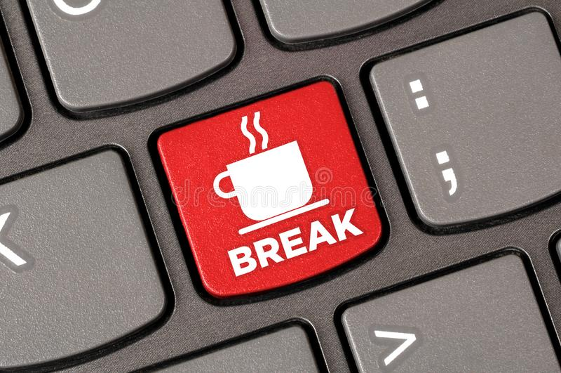 Coffee break keyboard stock photography