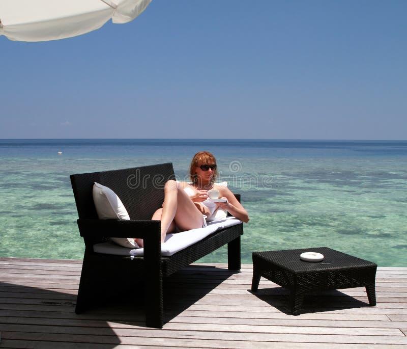 Coffee break in the Maldives stock image