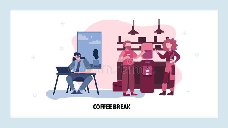 Coffee break in office. People drink coffee next to office cooler. Business meeting in lunch time. Vector web site vector illustration