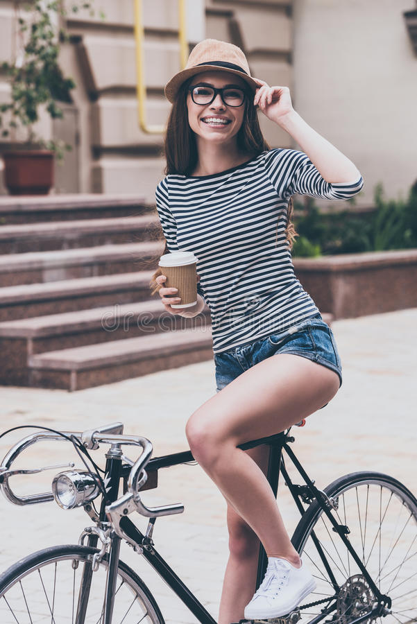 Coffee break before a ride. royalty free stock images