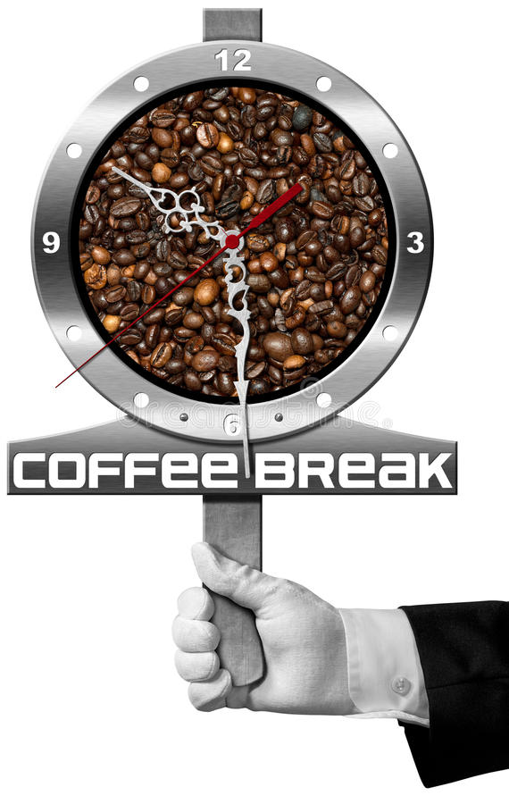 Coffee Break - Signboard with Coffee Beans. Coffee Break - Hand of a waiter holding a metal signboard with roasted coffee beans and a clock. Isolated on white vector illustration