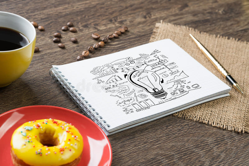 Coffee break and snack. Top view of workplace with notepad for ideas and cup of coffee royalty free stock photography