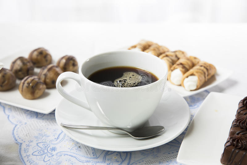 Coffee Break with Sweets stock images
