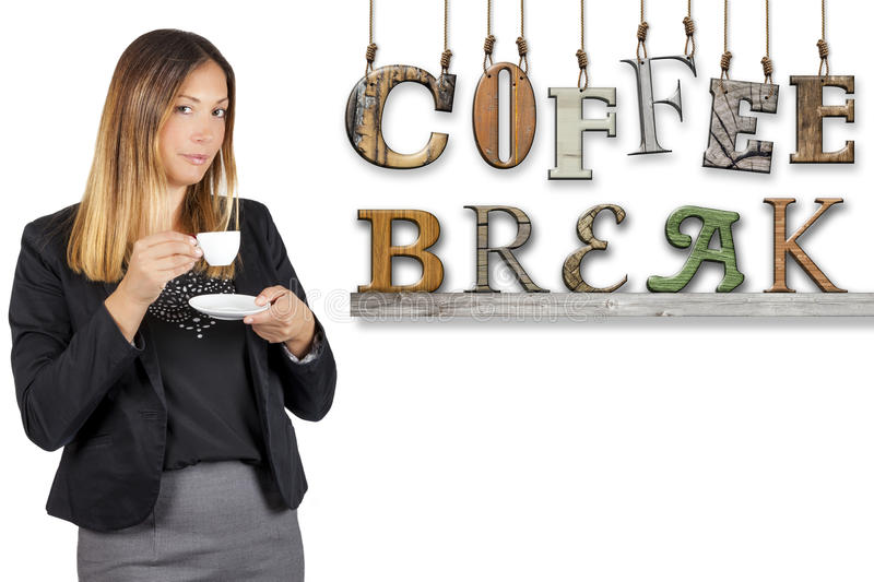 Coffee break text word business woman drinking coffee. Work pause royalty free stock photography