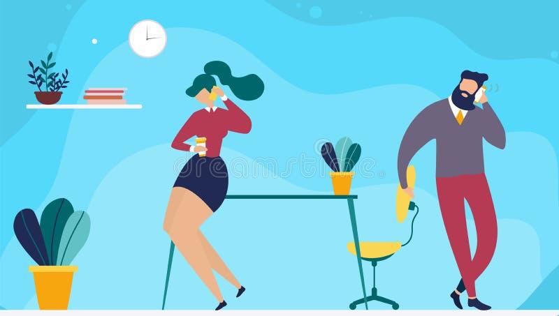Coffee Break Time in Coworking Office Cartoon stock illustration