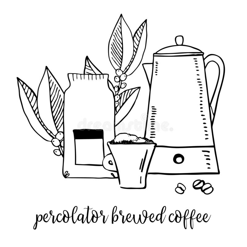 Coffee brewed in percolator. Composition with utensils, paper bag and coffee leaves. Hand drawn outline sketch illustration stock illustration