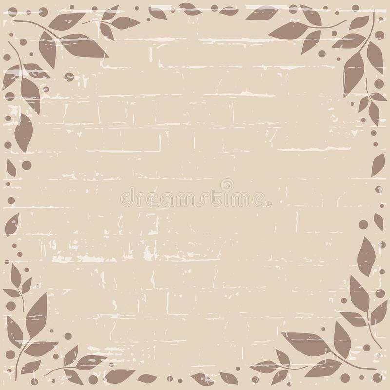 Coffee brown background with texture and decorative frame of brown leaves and dots in form of circle. For decoration, scrapbooking paper,wedding invitation stock illustration