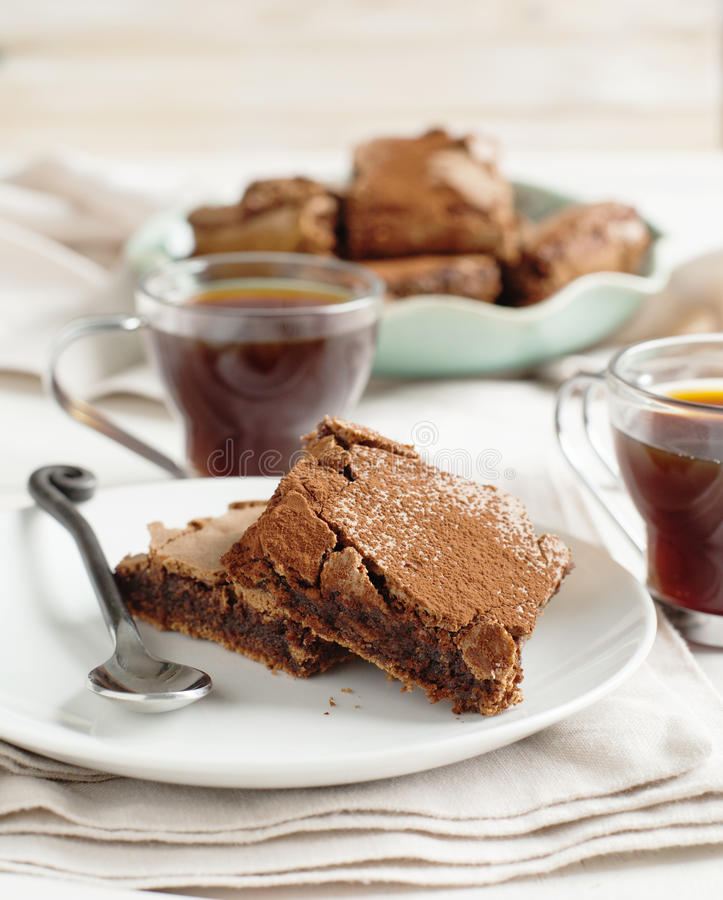 Coffee brownies. Homemade Coffee brownies. Selective focus royalty free stock images