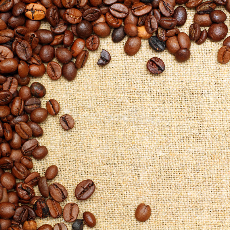 Download Coffee On Burlap Background Stock Image - Image: 29918387