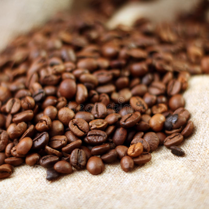 Download Coffee On Burlap Background Stock Image - Image of seed, copyspace: 29918635