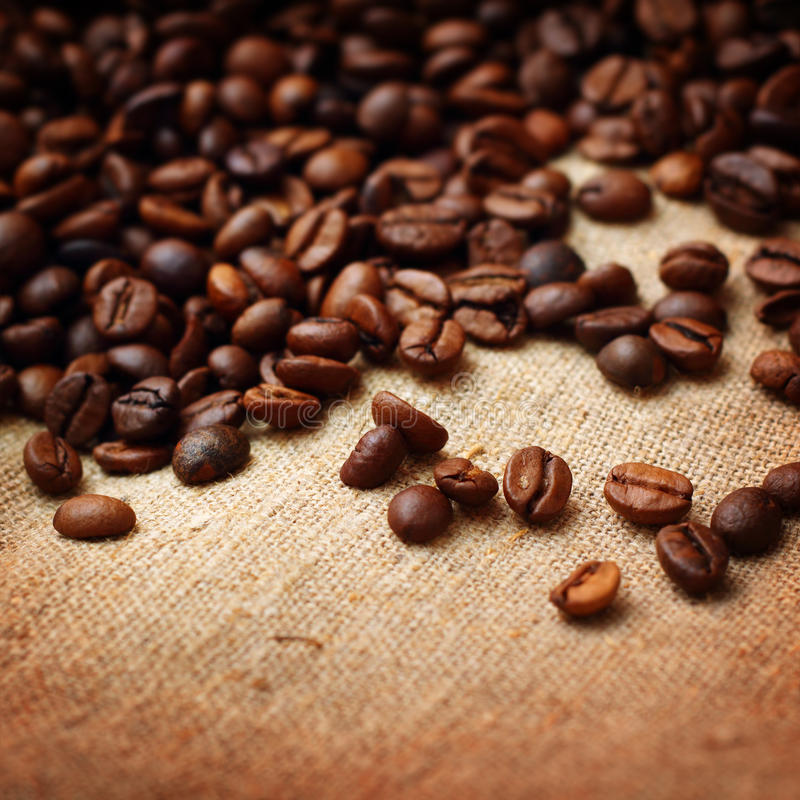 Download Coffee On Burlap Background Stock Photo - Image: 29918646